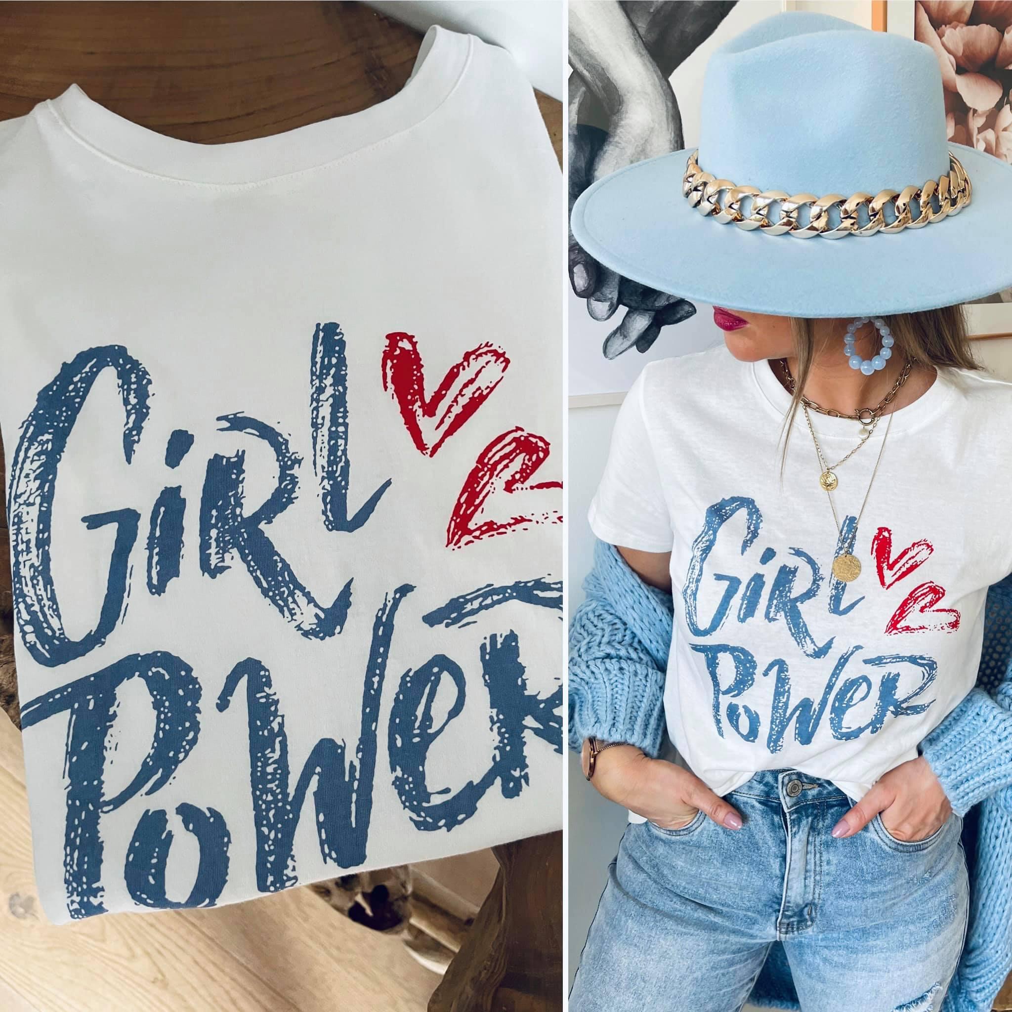 Tee-shirt GIRL POWER blanc/bleu