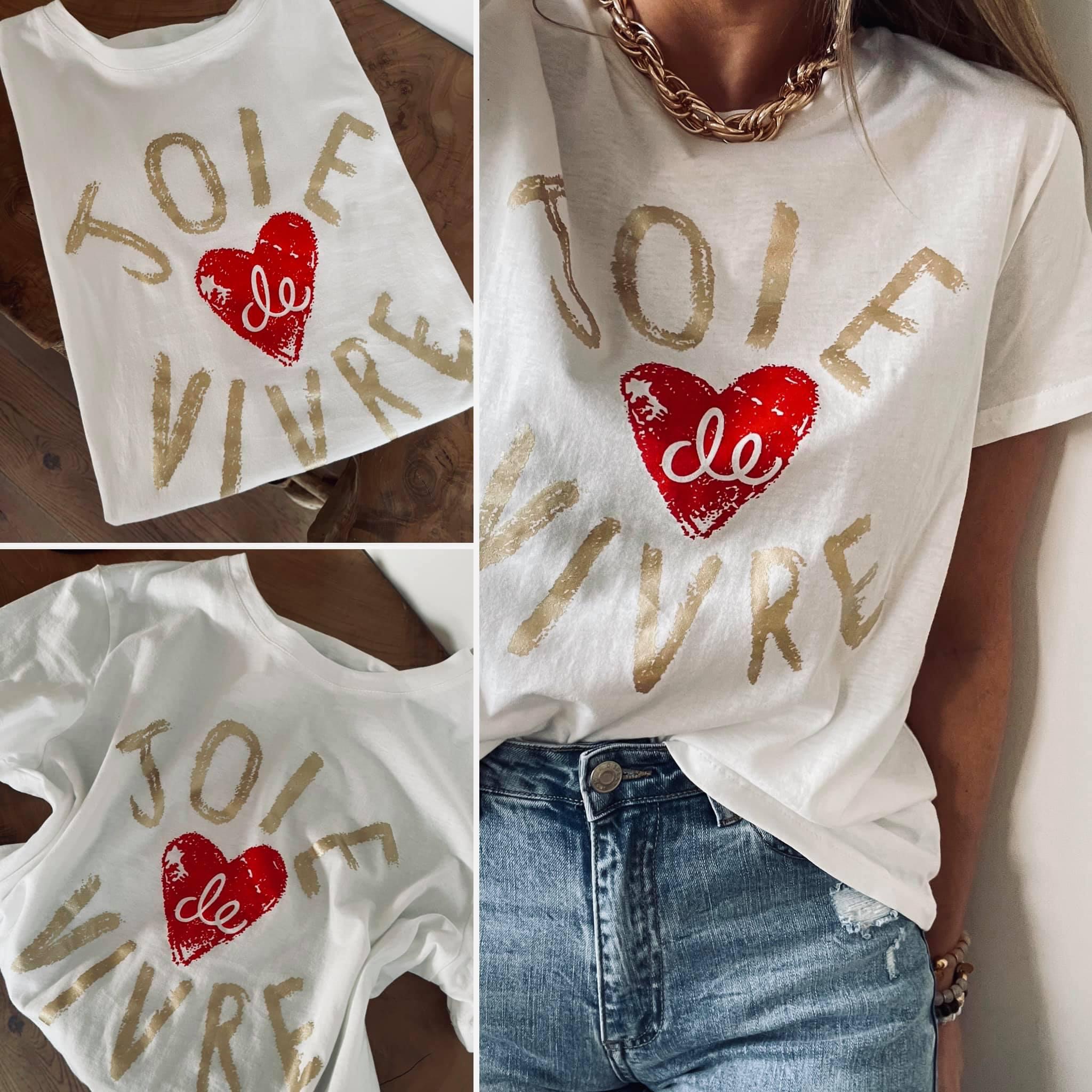 Tee-shirt JOIE DE VIVRE doré/rouge