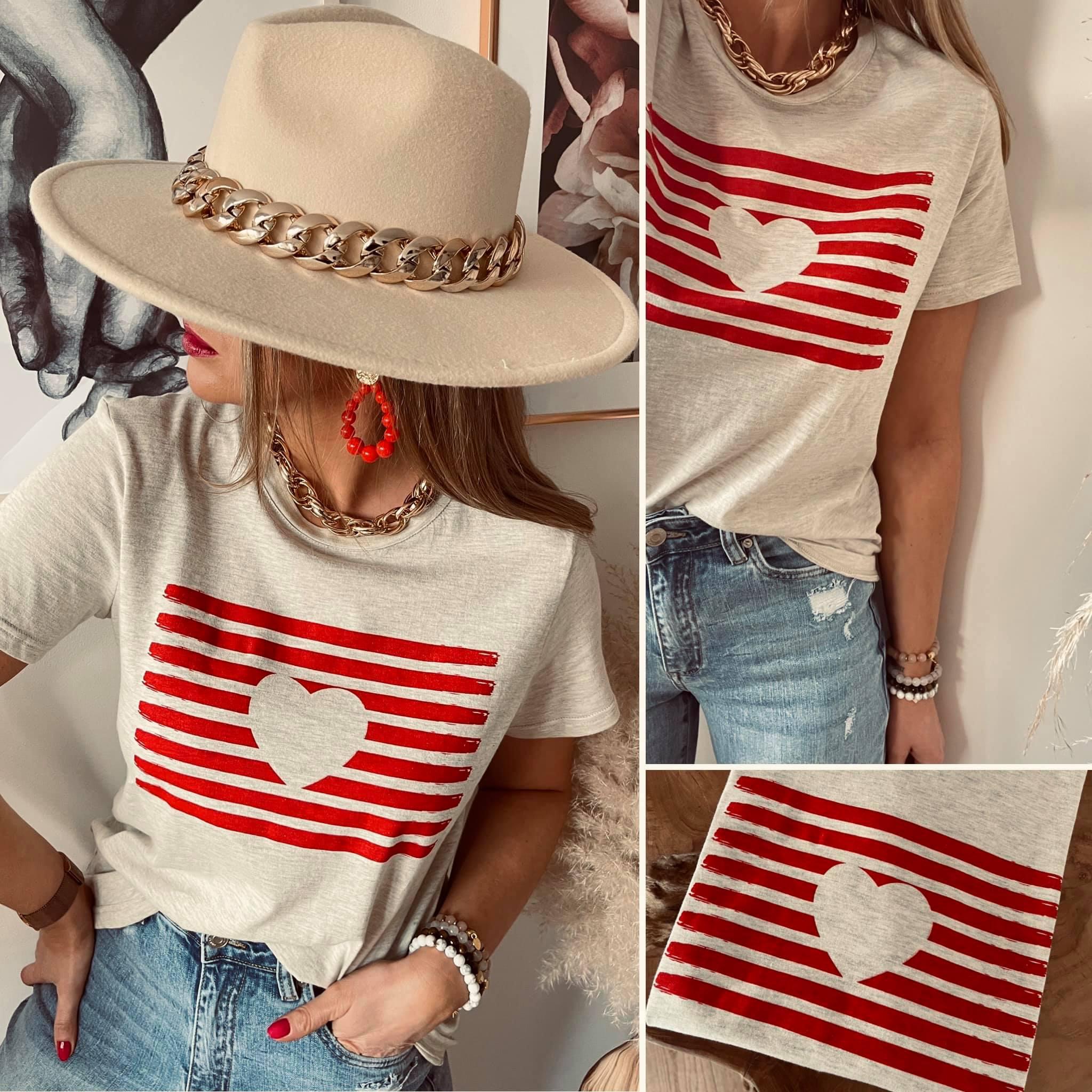 Tee-shirt coeur beige/rouge