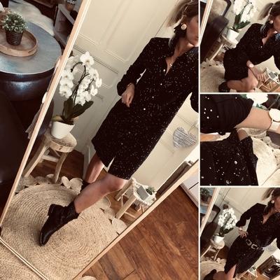 Robe chemise Juliette Noire motifs dorés