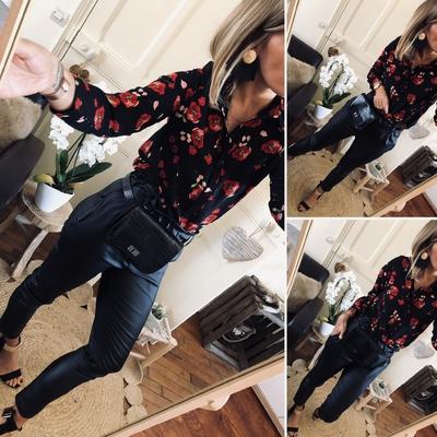 Chemise noire fleurie Bonny