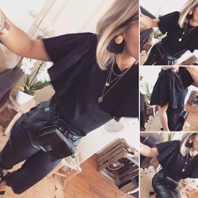 Tee-shirt noir Shelly