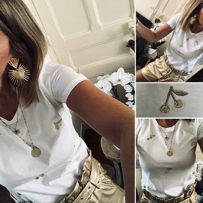 Tee-shirt blanc Cerises dorées