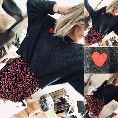 Pull Meredith gris souris coeur rouge