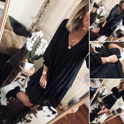 Robe Jenny noire lamée