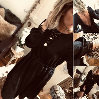 Robe Mila noire en satin joli dos