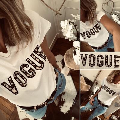 "Tee-shirt ""VOGUE"" blanc/imprimé léopard"