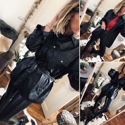 Chemise/veste en simili cuir