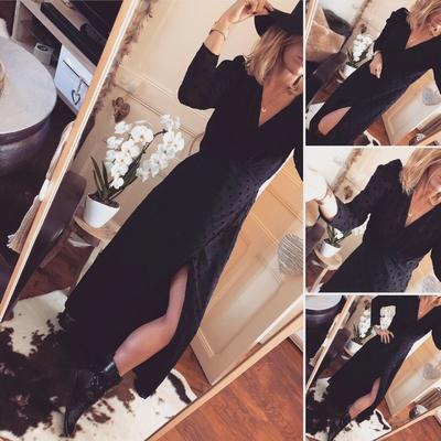 Longue robe Lady noire à pois velours