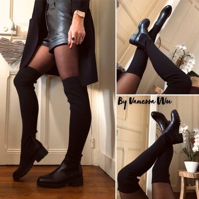 Cuissardes Chaussettes noires en maille côtelée
