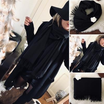 Grosse écharpe en laine Sofie noire