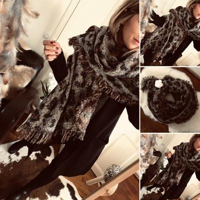 Grosse écharpe Ariel en laine imprimée léopard