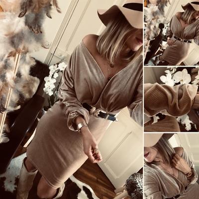 Robe Suzy en velours beige pailletée