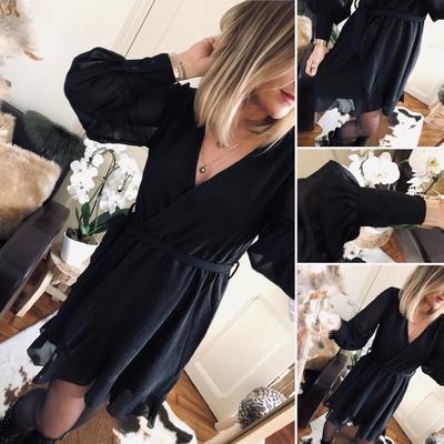 Robe Naya noire pailletée voile mousseline