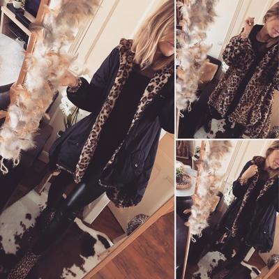 Manteau Réversible noir fourrure léopard