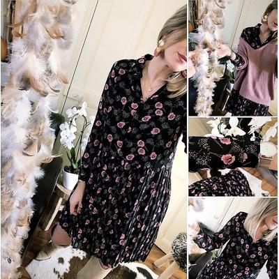 Robe chemise/plissée Ysia