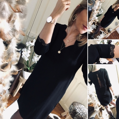 Robe Adèle noire joli dos à pois