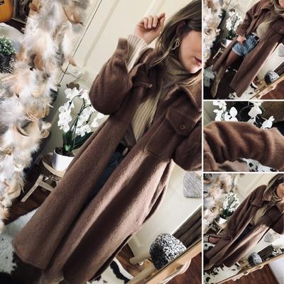 Long manteau Séréna en laine camel