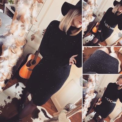 Longue robe pull noire Mélanie