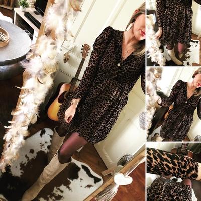 Robe Victoire imprimée velours léopard