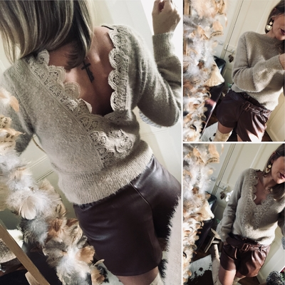 Pull Margarette taupe réversible