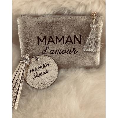 """Pochette dorée+Porte clés""""Maman d'amour"""""""