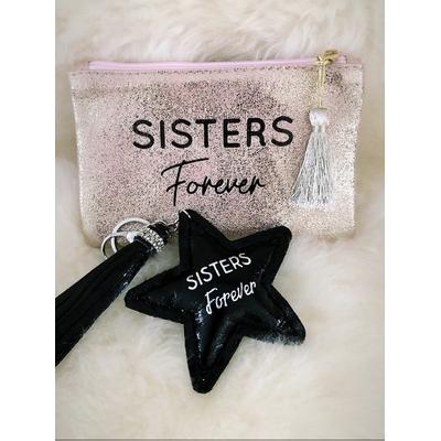 "Pochette rose gold+Porte clés""Sisters Forever"""