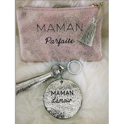 """Pochette rose gold+porte clés""""Maman parfaite"""""""