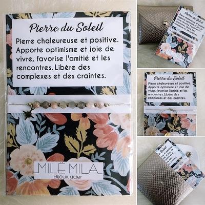 """Bracelet en Acier """"Pierre chaleureuse et positive"""""""