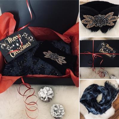 """Coffert cadeau Blue """"écharpe+headband"""""""