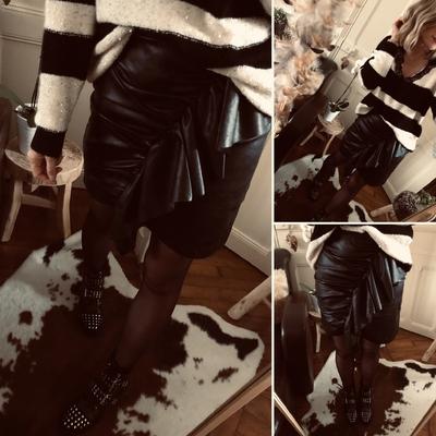 Jupe noire Ben en simili cuir