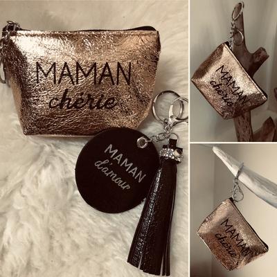 """Porte monnaie """"Maman chérie""""Gold+porte clés noir"""
