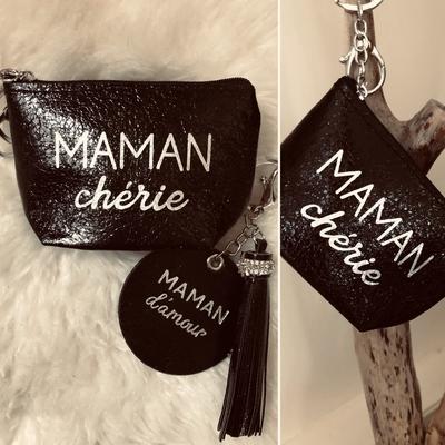 """Porte monnaie  """"Maman chérie""""+porte clés noir"""