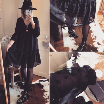 Robe Yvana noire à pois mouchetés