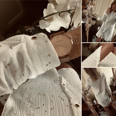 Robe chemise Bélina en gaze de coton