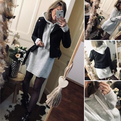 Robe Pull capuche Aliénor grise