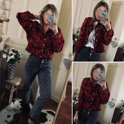 Veste/chemise en velours fleurie rouge