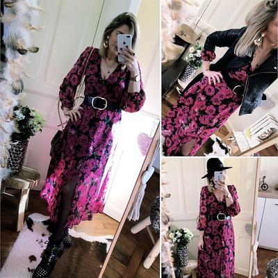 Robe Adèle rose fleurie