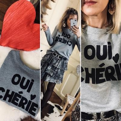 "Sweat gris ""Oui Chérie"""