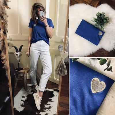 Tee-shirt bleu coeur Gold