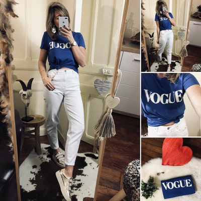 "Tee-shirt ""VOGUE"" bleu"