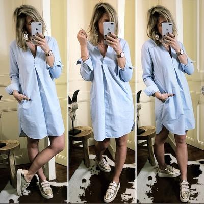 Robe chemise bleu jeans