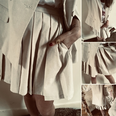 Short façon jupe plissée Vickie en lin