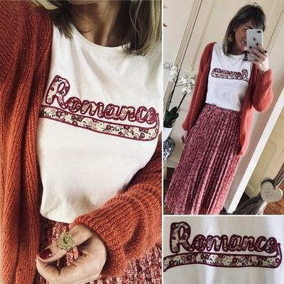 """Tee-shirt """"ROMANCE"""" imprimé liberty"""