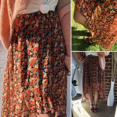Jupe Gaelle orange fleurie