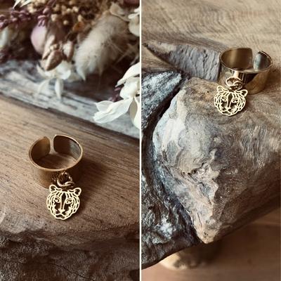 Bague tigre dorée à l'Or fin/acier inoxydable