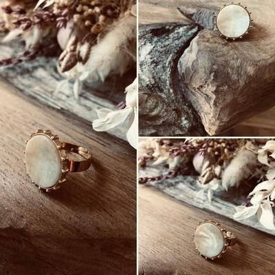 Bague Amazonite dorée à l'Or fin/acier inoxydable