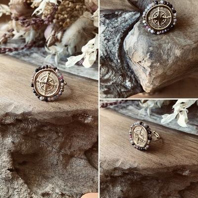 Bague quartz rose perles dorée à l'Or fin/acier inoxydable