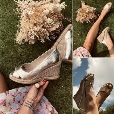 Sandales compensées peep-toe Or
