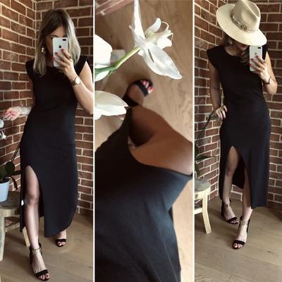 Robe Longue Épaulettes noire
